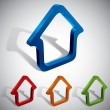 3d vector home icons design, color set. — Stock Vector