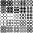 Set of 25 monochrome geometric seamless patterns. — Stock Vector