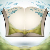 Open book with nature landscape. — Stock Vector