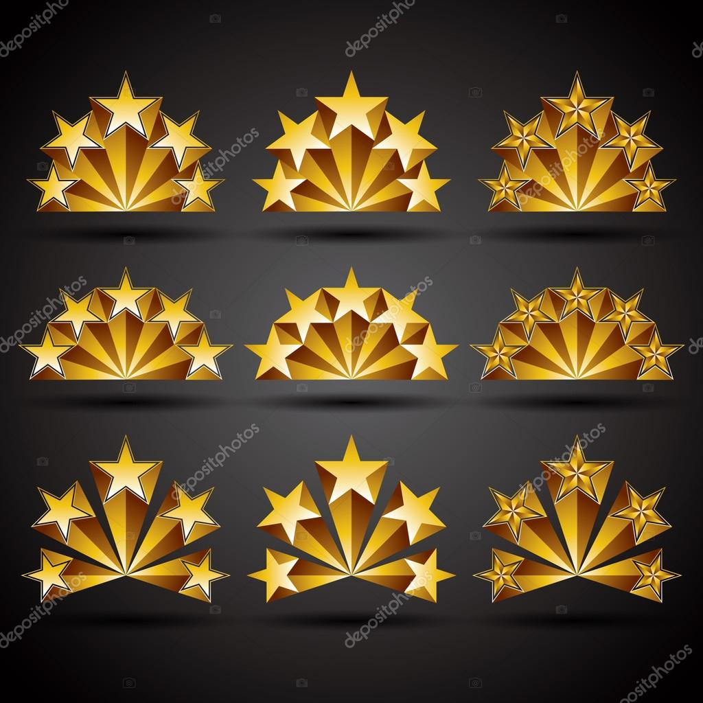 Five Stars Classic Style Icons Set Stock Vector Ostapius 12826112