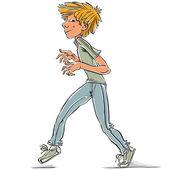 Cunning teen boy, vector cartoon. — Stock Vector