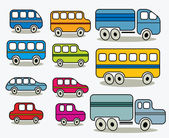 Set of cars icons, vector. — Stock Vector