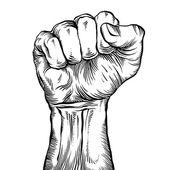 A clenched fist held high in protest. — Stock Vector