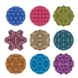 Collection of 9 single color complex dimensional spheres and abs — Stock Vector #49102635
