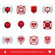 Cardiology and blood transfusion vector icons set, creative symb — Stock Vector
