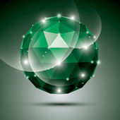 Abstract 3D emerald gala sphere with gemstone effect, green glos — Stock Vector
