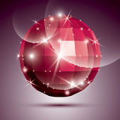 Party dimensional red sparkling disco ball created from geometri — Stock Vector