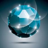 Dimensional blue sparkling disco ball. Vector abstract gala illu — Stock Vector