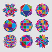 Collection of complex dimensional spheres and abstract geometric — Vettoriale Stock