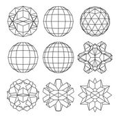 Collection of 9 black and white complex dimensional spheres and — Vector de stock