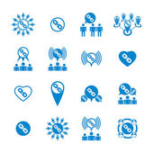 Teamwork and business cooperation theme creative vector icons se — Vector de stock