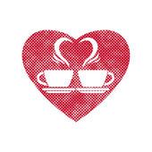 Romantic dating icon with two coffee cups and steam creates a he — Διανυσματικό Αρχείο