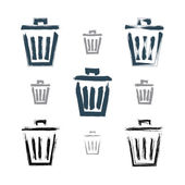 Set of hand-painted simple vector trash can icons isolated on wh — Vector de stock