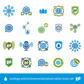 Ecology and environmental conservation vector icons set, unusual — Stock Vector