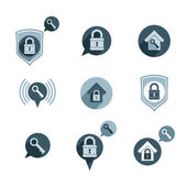 House security protection vector icons set, home, house, padlock — Stock Vector