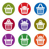 Shopping basket icons isolated on white background vector set, s — Vettoriale Stock