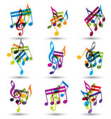 Bright expressive jolly musical notes and symbols isolated on wh — Vector de stock