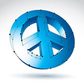 3d mesh blue peace icon isolated on white background, colorful l — Stockvector
