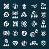 Gear system power development and progress theme unusual icons s — Stockvector