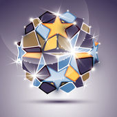 3D twinkle mirror ball with gold stars. Vector festive geometric — Stock Vector