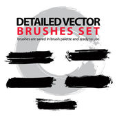 Collection of scanned and traced creative brushstrokes, illustra — Stock Vector