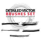Set of grunge detailed hand-painted brushstrokes, black illustra — Stok Vektör