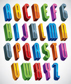 3d font, vector tall thin letters. — Vettoriale Stock