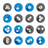 Medical pills icons set, vector collection. — Stock Vector