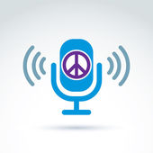 Peace propaganda icon with microphone, vector conceptual unusual — Stock Vector