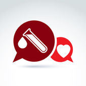Vector illustration of a red heart symbol and test tube with a b — Stock Vector