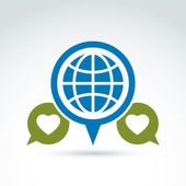 Globe with leaves growing and speech bubbles icon, ecological en — Stock Vector
