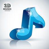 Blue musical note 3d modern icon isolated. — Stock Vector