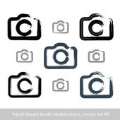 Set of realistic ink hand-drawn stroke vector digital camera ico — Vector de stock