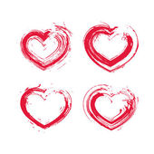 Set of hand-drawn red love heart icons, loving heart signs creat — Vecteur
