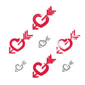 Set of hand-drawn red love heart icons, collection of brush draw — Vecteur