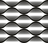 Wave lines seamless pattern, abstract geometric black and white  — Vettoriale Stock