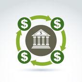 Vector banking symbol, financial system icon. Circulation of mon — Stock Vector
