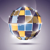 3D glossy mirror ball created from geometric figures. Vector fes — Stock Vector