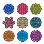 Collection of 9 single color complex dimensional spheres and abs — Wektor stockowy