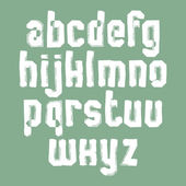 Handwritten white vector isolated lowercase letters, painted sty — 图库矢量图片