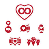 Love theme vector icons set, conceptual valentine and romantic s — Διανυσματικό Αρχείο