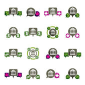 Bank and money theme vector unusual icons set, financial theme v — Stockvector