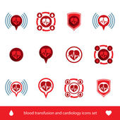Cardiology and blood transfusion vector icons set, creative symb — Vetorial Stock