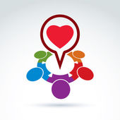 Heart and society icon, medical organization, medical fund, love — Stok Vektör
