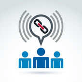 Podcast icon with a link symbol. People chat on social relations — Stock Vector