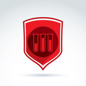 Vector illustration of a red shield symbol and test tubes with a — Stockvector