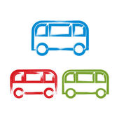 Set of hand-drawn colorful bus icons, illustrated brush drawing  — Stock Vector