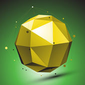 Abstract 3D structure, green vector network backdrop, yellow sph — Stock Vector