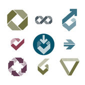 Abstract unusual lined vector icons set, creative symbols collec — Vecteur