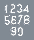 Handwritten white contemporary vector digit set, doodle hand-pai — Cтоковый вектор